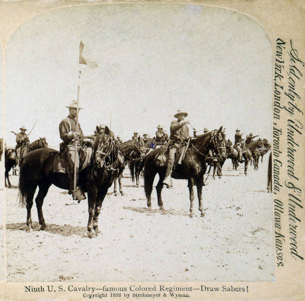 1890s Poster featuring the photograph Buffalo Soldiers Of The Ninth U.s by Everett