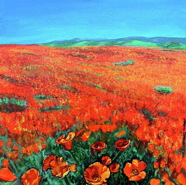 California Poppies Poster featuring the painting California Poppies by Charles and Stacey Matthews