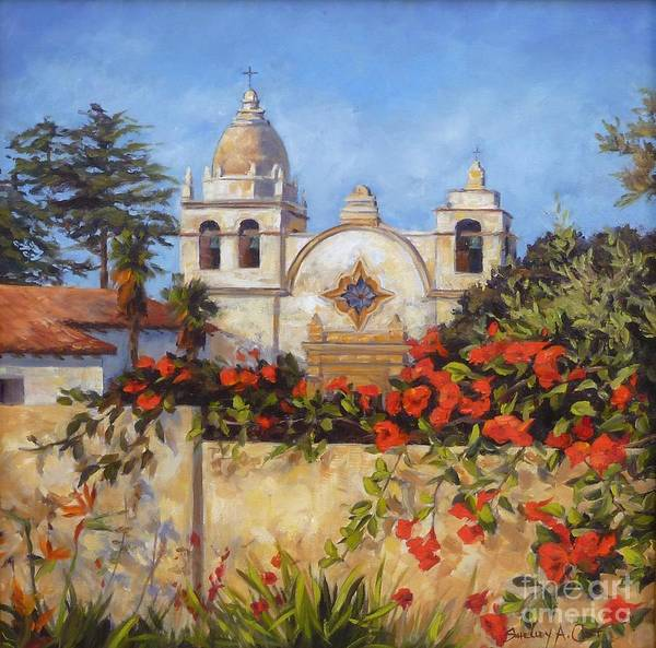 Carmel By The Sea Poster featuring the painting Carmel Mission by Shelley Cost