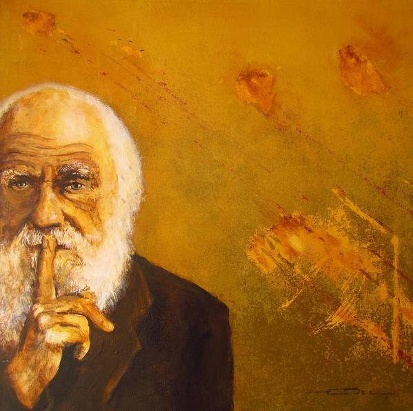 Charles Darwin - On The Origin Of Species. Charles Darwin Portrait Painting Poster featuring the painting Charles R. Darwin by Eric Dee