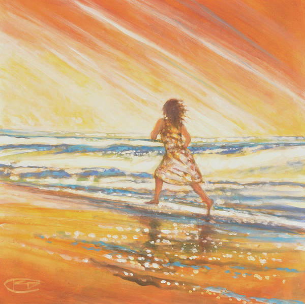 Running Poster featuring the painting Chasing The Surf by Kip Decker