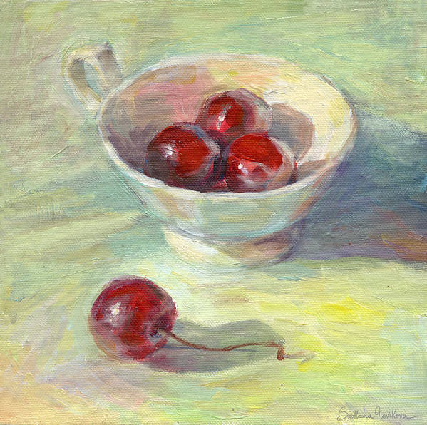 Cherry Painting Poster featuring the painting Cherries In A Cup On A Sunny Day Painting by Svetlana Novikova