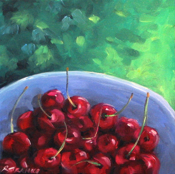 Art Poster featuring the painting Cherries On A Blue Plate by Richard T Pranke