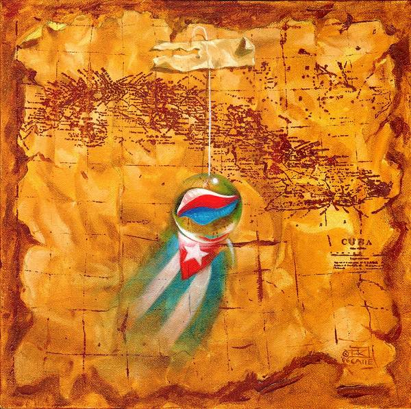 Marble Hanging By A String Poster featuring the painting Colgando En Un Hilito by Roger Calle