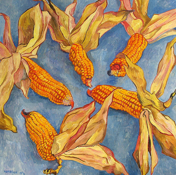 Corn Poster featuring the painting Corn by Vitali Komarov