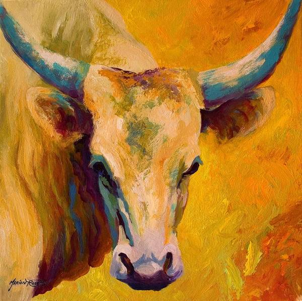 Longhorn Poster featuring the painting Creamy Texan - Longhorn by Marion Rose