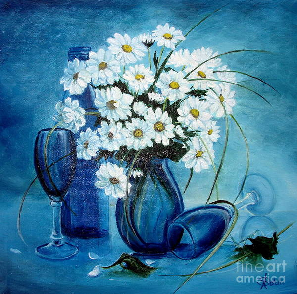Daisies Poster featuring the painting Daisies by Sorin Apostolescu
