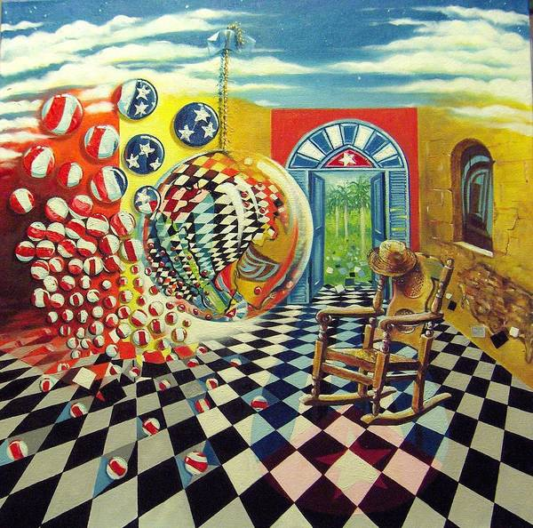 Spheres Poster featuring the painting Esperando Ansiosamente La Salida by Roger Calle