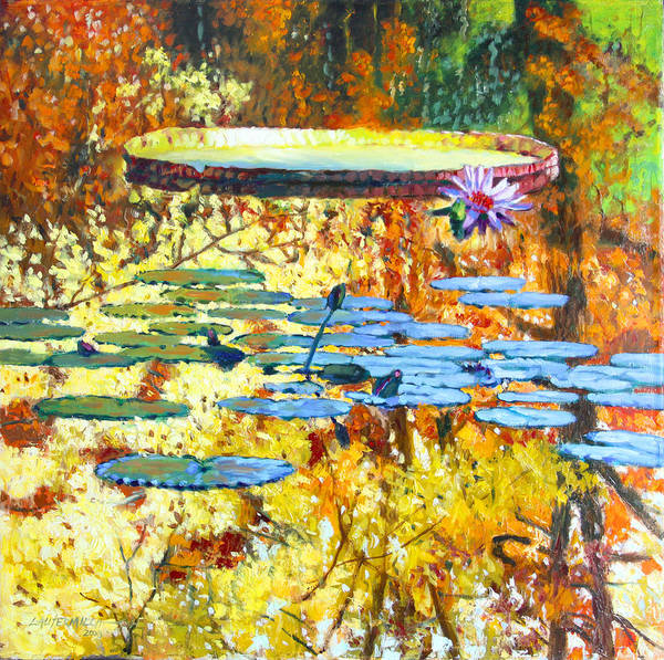 Fall Poster featuring the painting Fall Colors On The Lily Pond by John Lautermilch