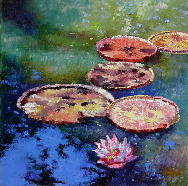 Fall Water Lilies Poster featuring the painting Fall Colors On The Pond by John Lautermilch
