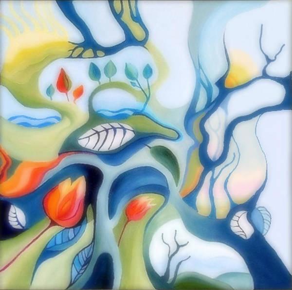 Fantasy Landscape Poster featuring the painting Fantasy Landscape by Carola Ann-Margret Forsberg