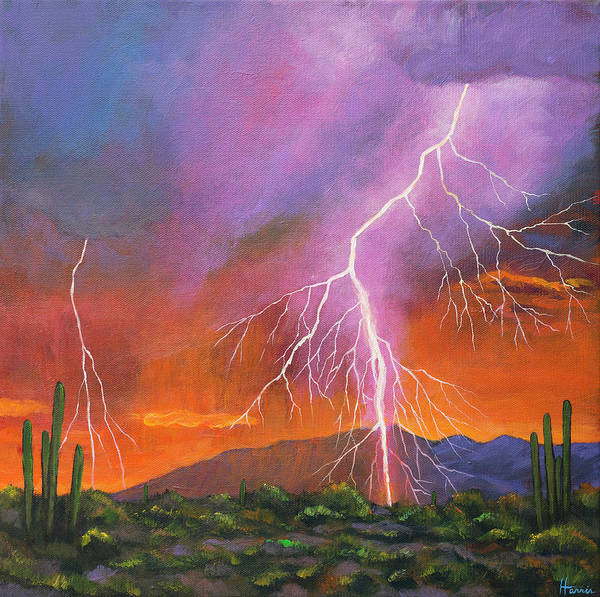 Arizona Poster featuring the painting Fire In The Sky by Johnathan Harris