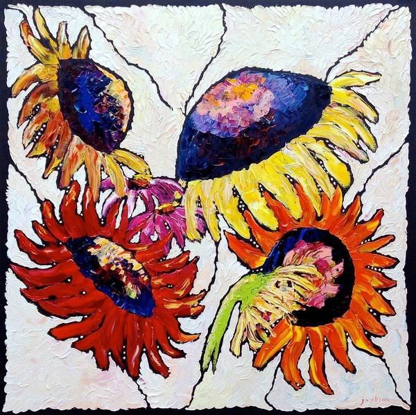 Sunflowers Poster featuring the painting Five In Hand by Carrie Jacobson