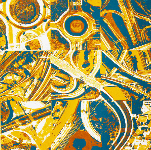 Aerial View Poster featuring the painting Freeway Variations by Toni Silber-Delerive