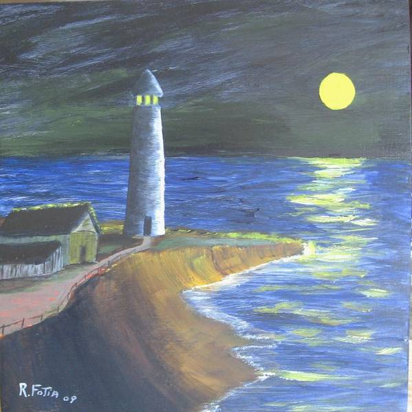 Lighthouse Poster featuring the painting Full Moon Lighthouse by Rich Fotia