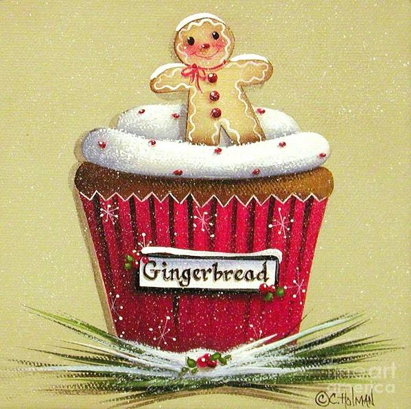 Art Poster featuring the painting Gingerbread Cookie Cupcake by Catherine Holman