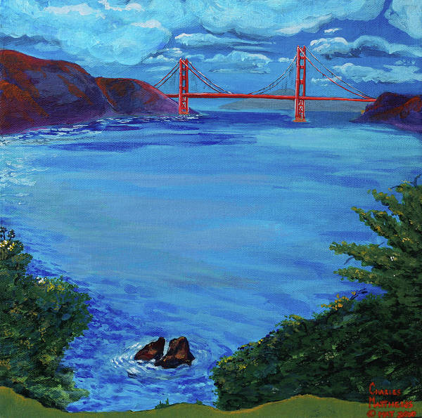 Lincoln Park Poster featuring the painting Golden Gate Bridge From Lincoln Park by Charles and Stacey Matthews