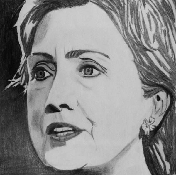 Portrait Poster featuring the drawing Hillary Clinton by Kenneth Regan