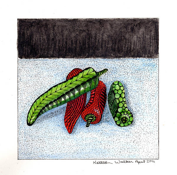 Watercolor Poster featuring the drawing Hot Peppers Take1 by Kathleen Walker