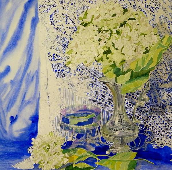 Antique Lace Poster featuring the painting Hydrangia And Lace by Terry Honstead