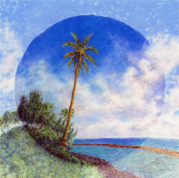 Rainbow Colors Pastel Poster featuring the painting Ke'e Palm by Kenneth Grzesik