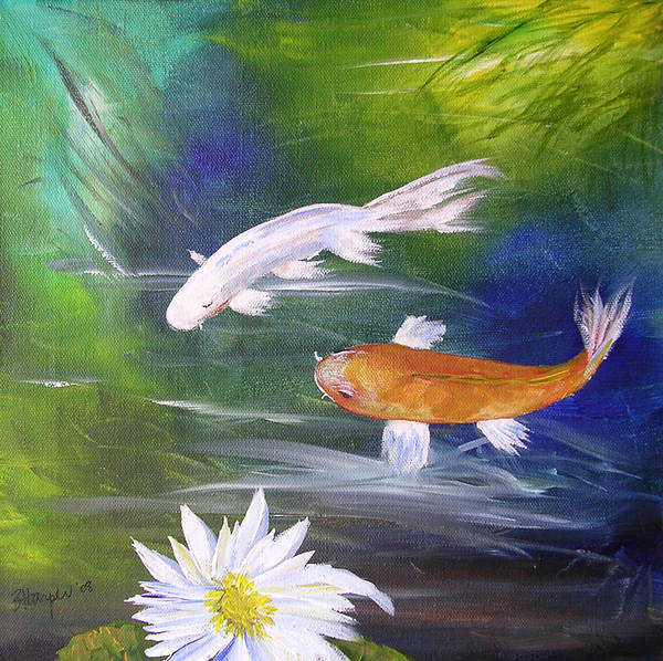 Painting Poster featuring the painting Kohaku Koi And Water Lily by Barbara Harper