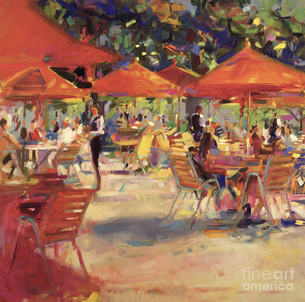 En Plein Air; Al Fresco; Garden; Table And Chairs; Umbrella; Restaurant; Summer; Mediterranean; Outdoors Poster featuring the painting Le Cafe Du Jardin by Peter Graham