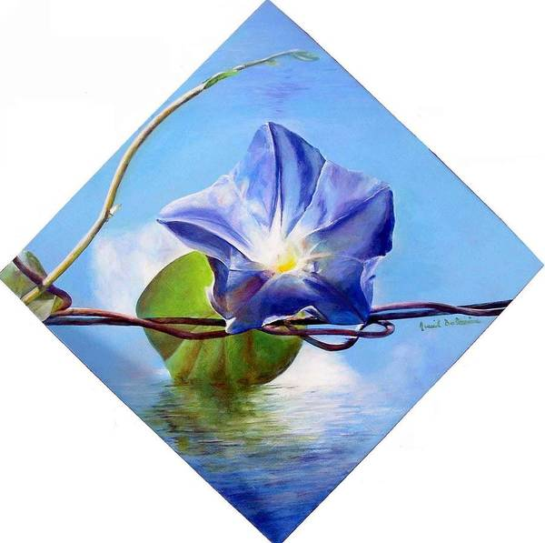Floral Painting Poster featuring the painting Liseron by Muriel Dolemieux
