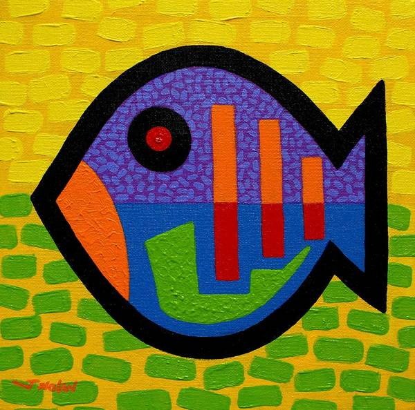 Stylised Poster featuring the painting Lucky Fish II by John Nolan