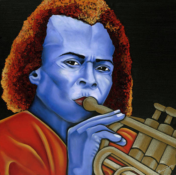 Portrait Poster featuring the painting Miles by Nannette Harris