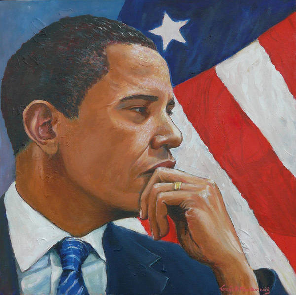 Obama Poster featuring the painting On Reflection by Tomas OMaoldomhnaigh