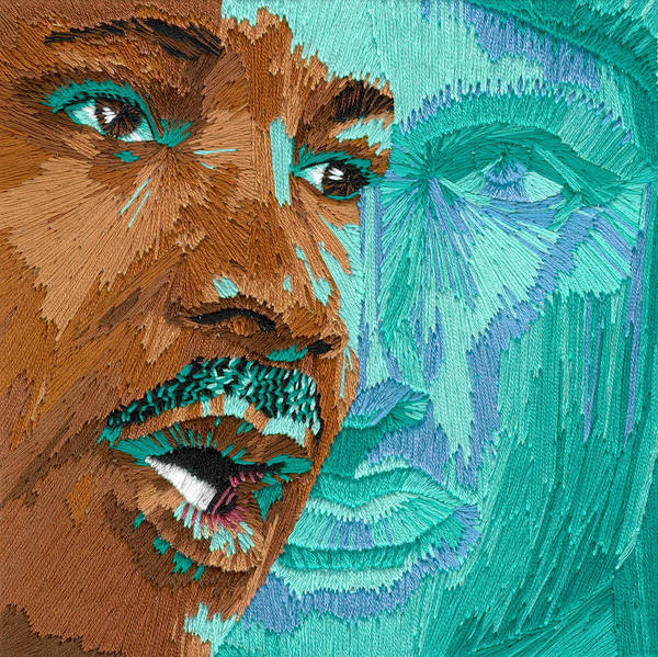 Martin Luther King Poster featuring the tapestry - textile One Day - Part One Of Two by Barbara Lugge