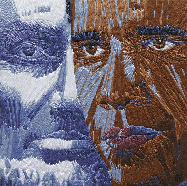 Martin Luther King Poster featuring the tapestry - textile One Day - Part Two Of Two by Barbara Lugge