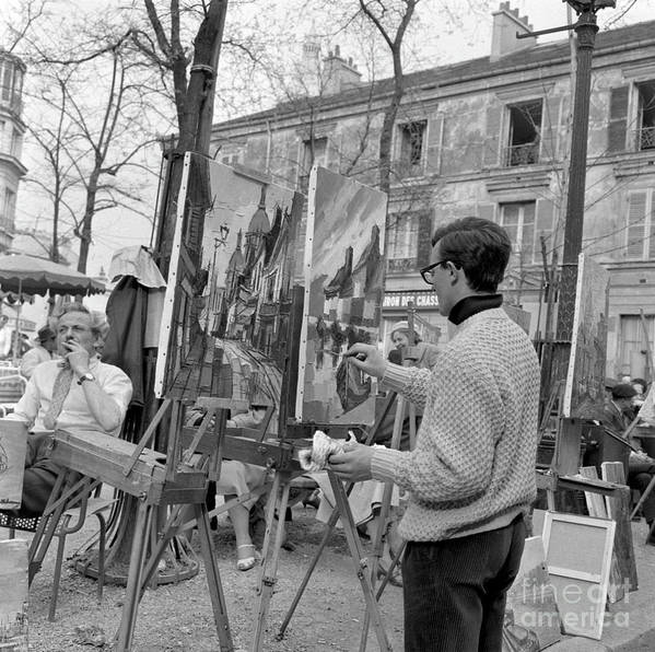 Montmartre Poster featuring the photograph Painters In Montmartre, Paris, 1977 by French School