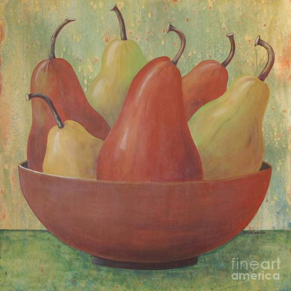 Pears Poster featuring the painting Pears In Copper Bowl by Jeanie Watson