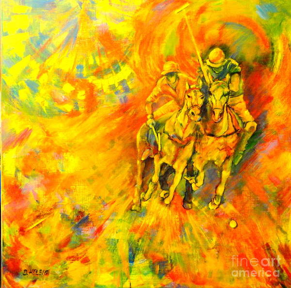 Horses Poster featuring the painting Poloplayer by Dagmar Helbig