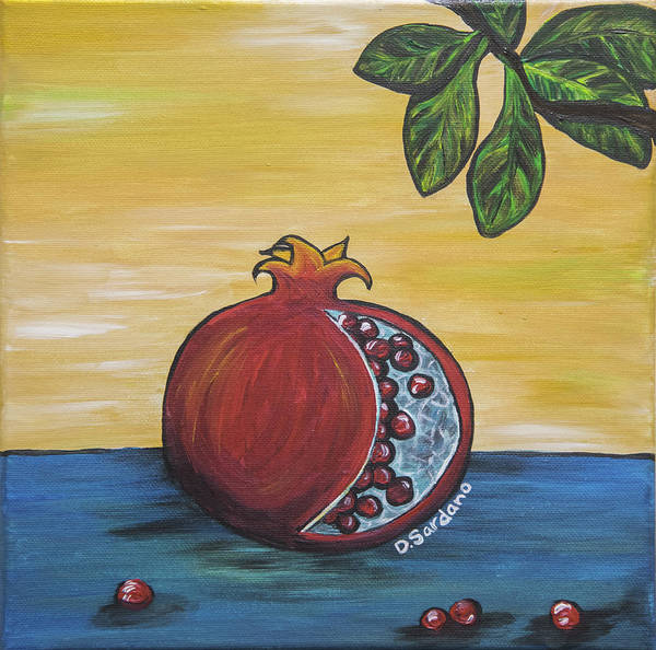 Pomegranate Poster featuring the painting Pomegranate by Dana Sardano