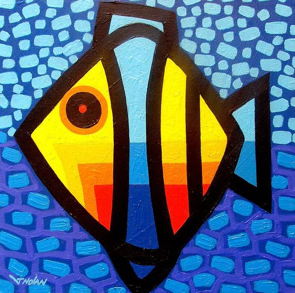 Abstract Poster featuring the painting Psychedelic Fish by John Nolan