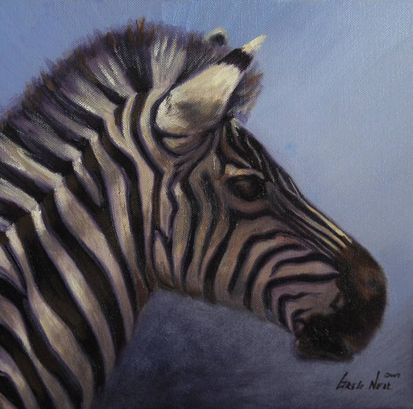 Zebra Poster featuring the painting Quiet Profile by Greg Neal