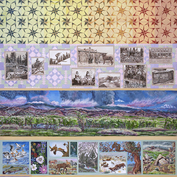 Western Poster featuring the painting River Mural Summer Panel Top Half by Dawn Senior-Trask