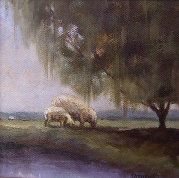 Sheep Poster featuring the painting Safe Pasture by Ruth Stromswold