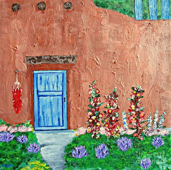 Adobe Home Poster featuring the painting Santa Fe Adobe by Mary Mirabal