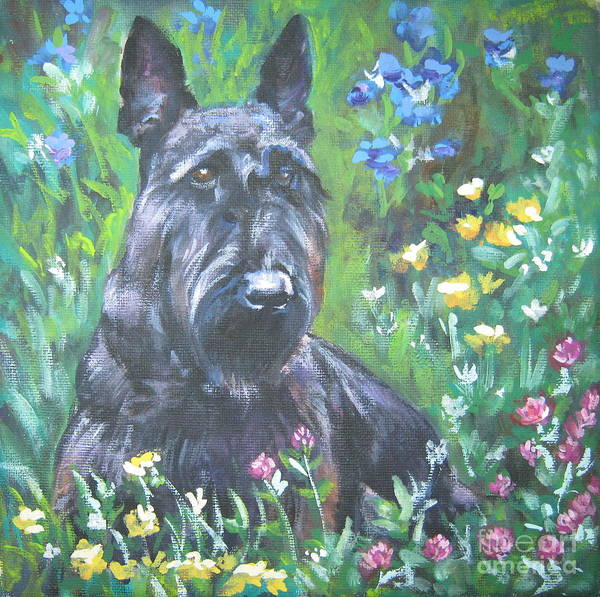 Scottish Terrier Poster featuring the painting Scottish Terrier In The Garden by Lee Ann Shepard
