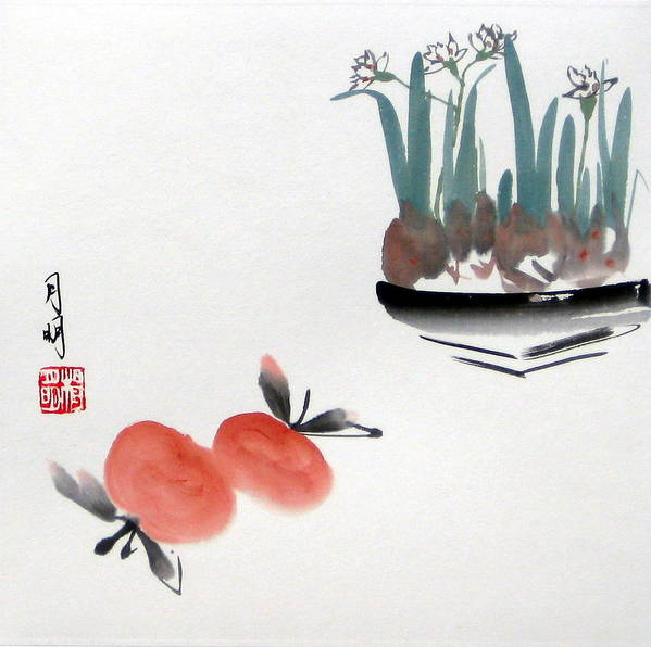 Chinese Painting Poster featuring the painting Seasonal Delight by Ming Yeung