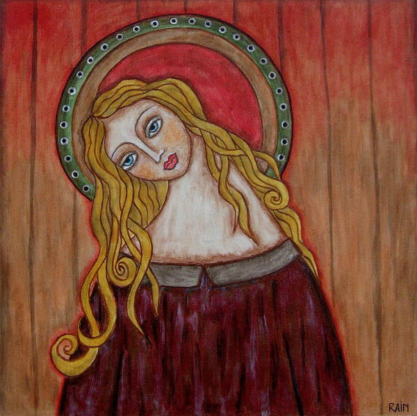 Folk Art Paintings Paintings Poster featuring the painting Serena by Rain Ririn