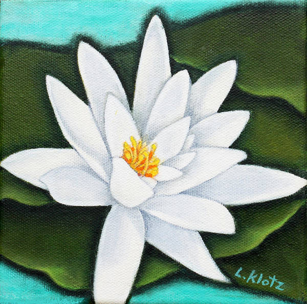 Small Paintings Poster featuring the painting Single White Water Lily by Lorraine Klotz