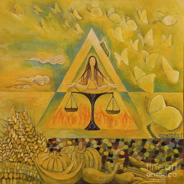 Solar Plexus: Triangle; Brilliant Yellow; Images Of Radiance Poster featuring the painting Solar Plexus by Manami Lingerfelt