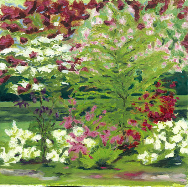 Landscape Poster featuring the painting Spring At Osage Land Trust II by Paula Emery