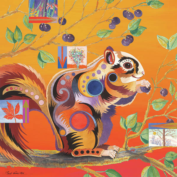 Animal Art Poster featuring the painting Squirrelling Away by Bob Coonts
