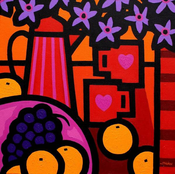 Still Life Poster featuring the painting Still Life With 2 Hearts by John Nolan